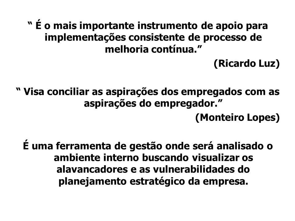 É o mais importante instrumento de apoio para implementações consistente de processo de melhoria contínua.