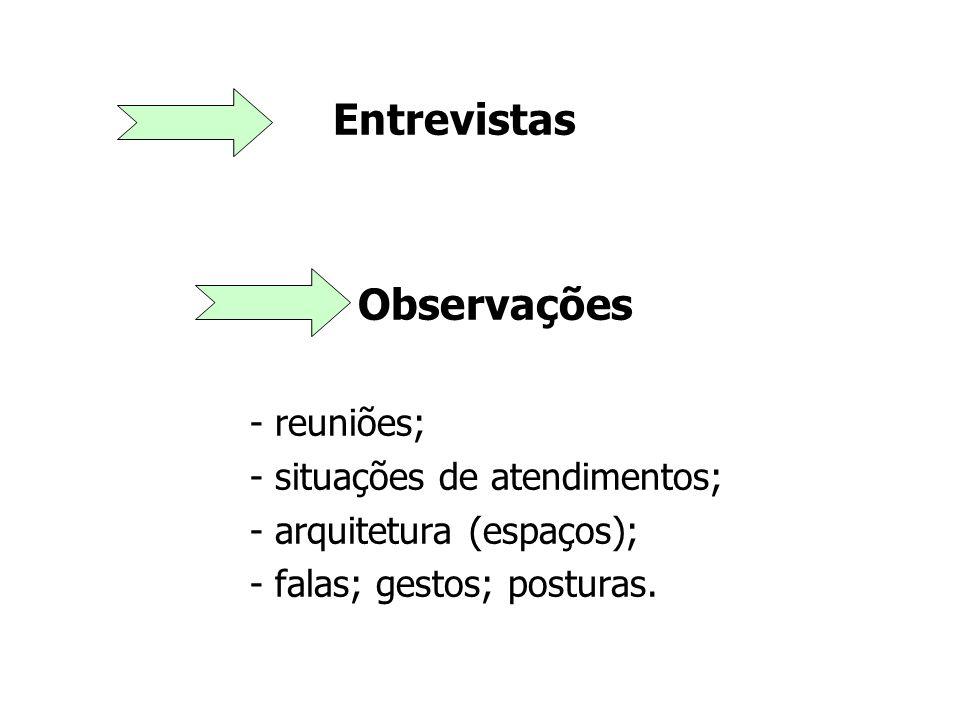 Entrevistas Observações - reuniões; - situações de atendimentos;