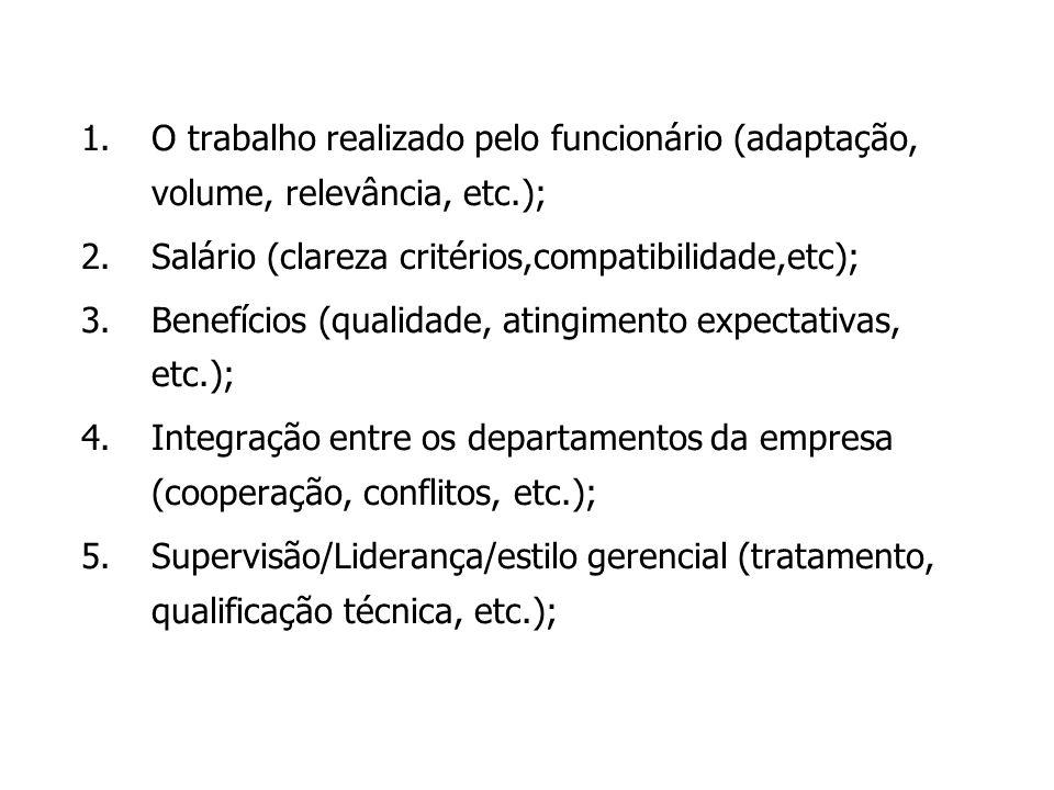 O trabalho realizado pelo funcionário (adaptação, volume, relevância, etc.);