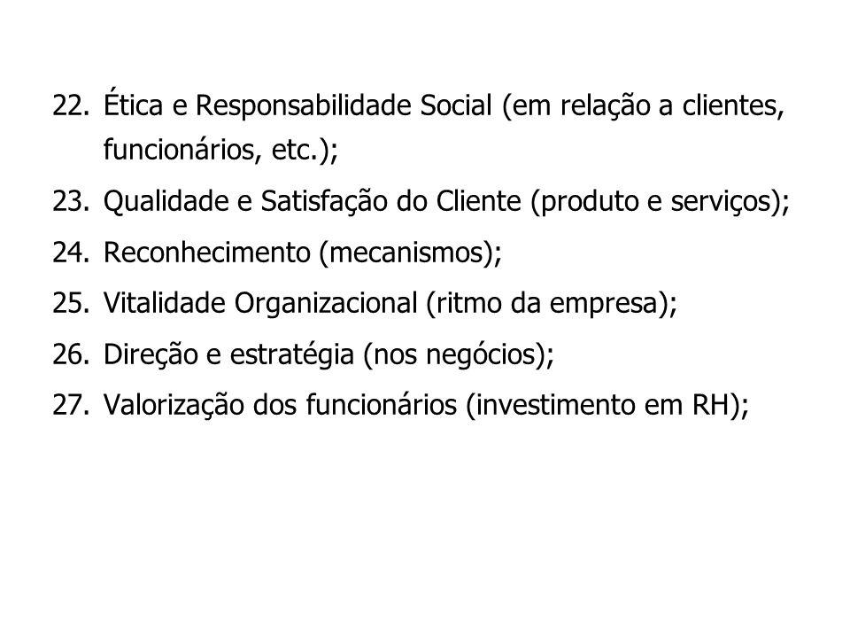 Ética e Responsabilidade Social (em relação a clientes, funcionários, etc.);