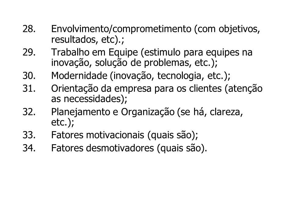 Envolvimento/comprometimento (com objetivos, resultados, etc).;