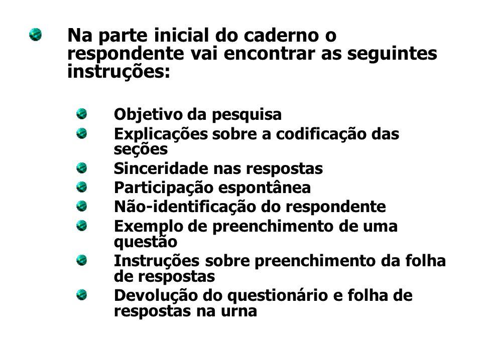 Na parte inicial do caderno o respondente vai encontrar as seguintes instruções: