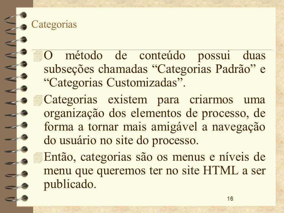 Categorias O método de conteúdo possui duas subseções chamadas Categorias Padrão e Categorias Customizadas .