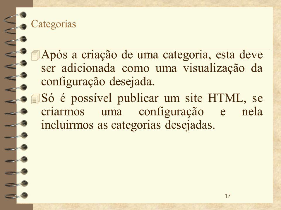 Categorias Após a criação de uma categoria, esta deve ser adicionada como uma visualização da configuração desejada.