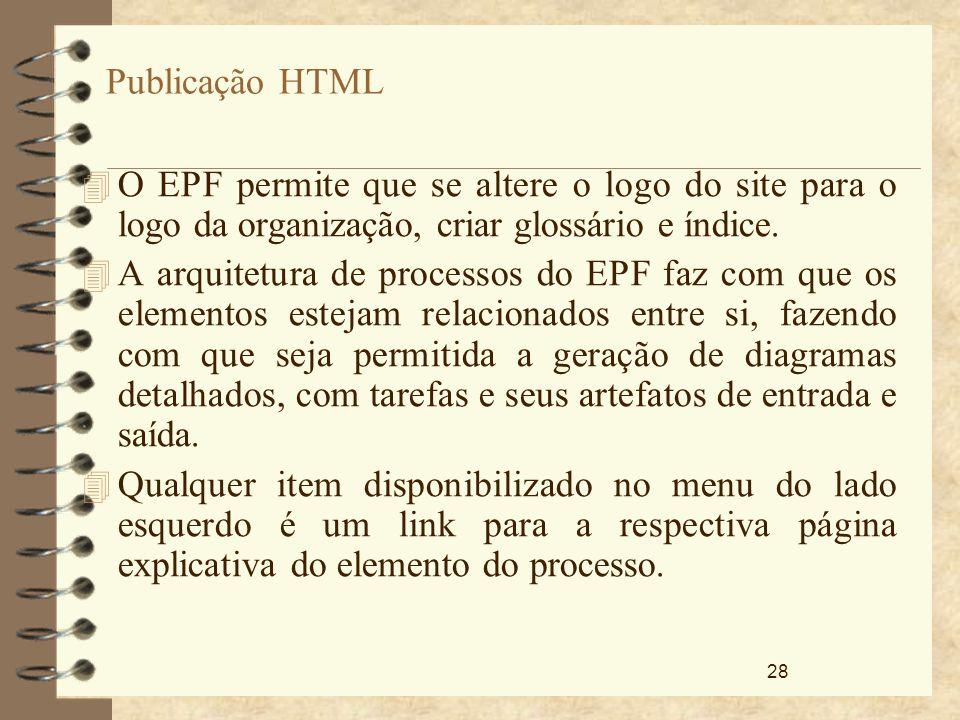 Publicação HTML O EPF permite que se altere o logo do site para o logo da organização, criar glossário e índice.