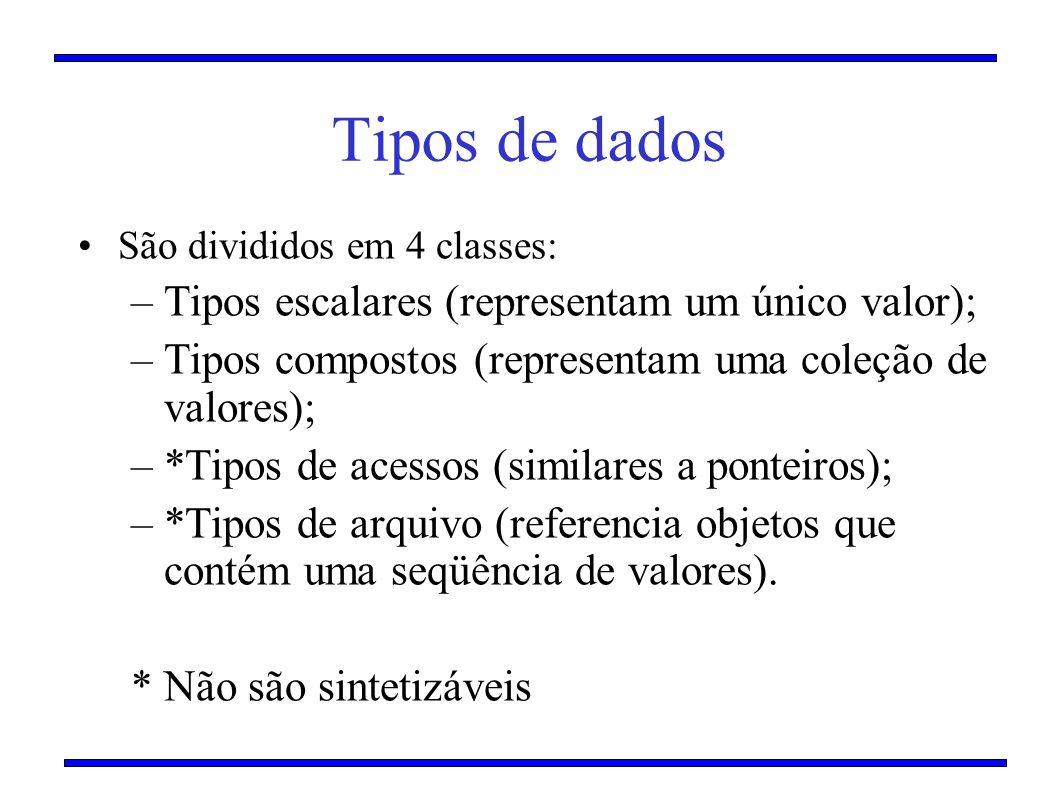 Tipos de dados Tipos escalares (representam um único valor);