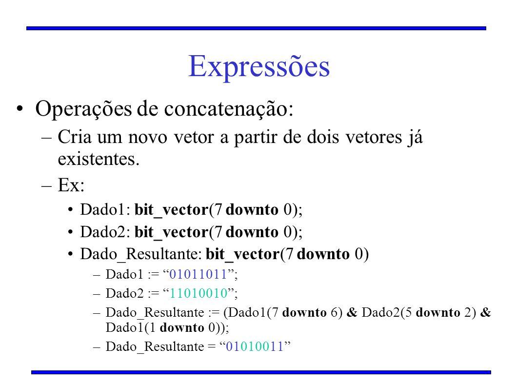 Expressões Operações de concatenação:
