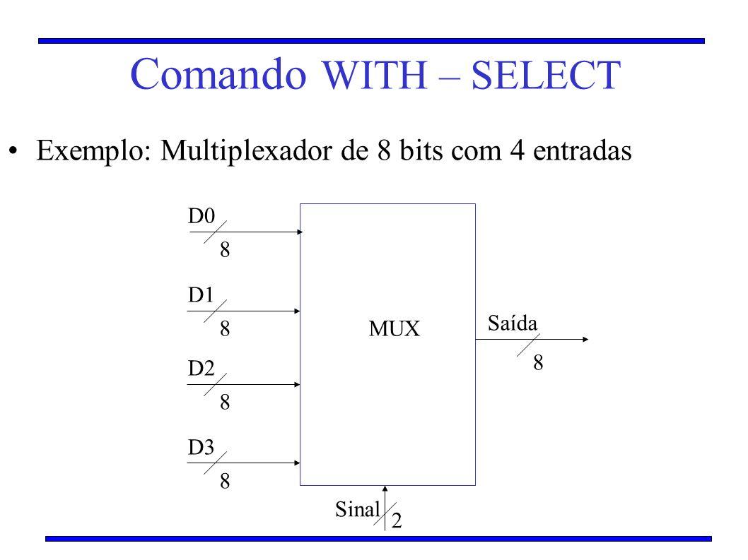 Comando WITH – SELECT Exemplo: Multiplexador de 8 bits com 4 entradas