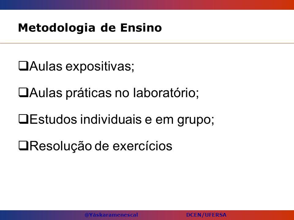 Aulas práticas no laboratório; Estudos individuais e em grupo;