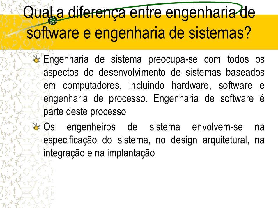 Qual a diferença entre engenharia de software e engenharia de sistemas