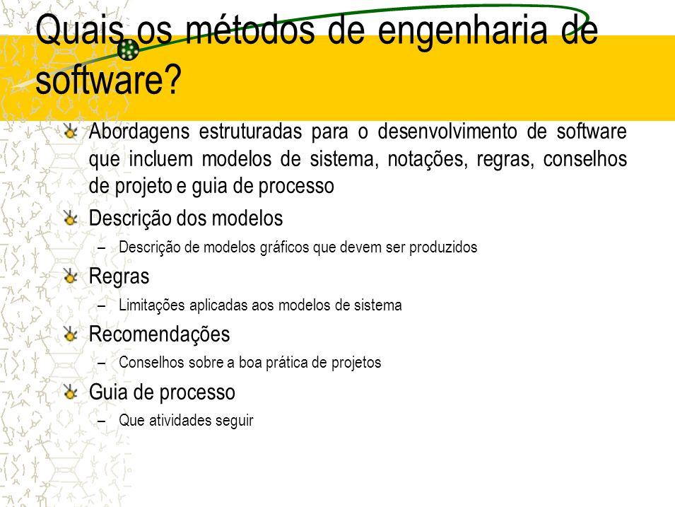Quais os métodos de engenharia de software