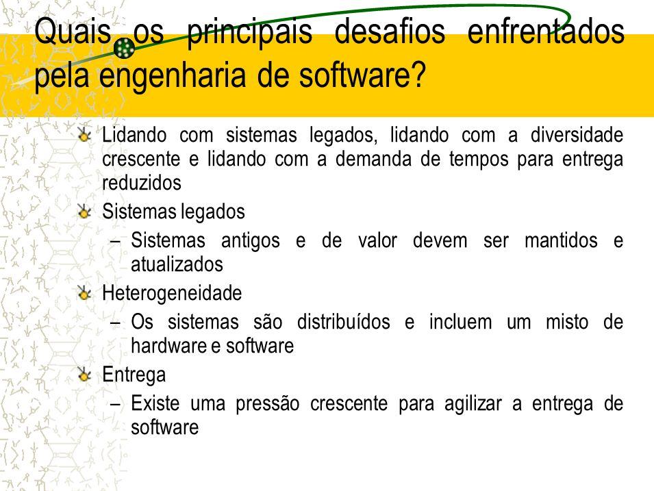 Quais os principais desafios enfrentados pela engenharia de software