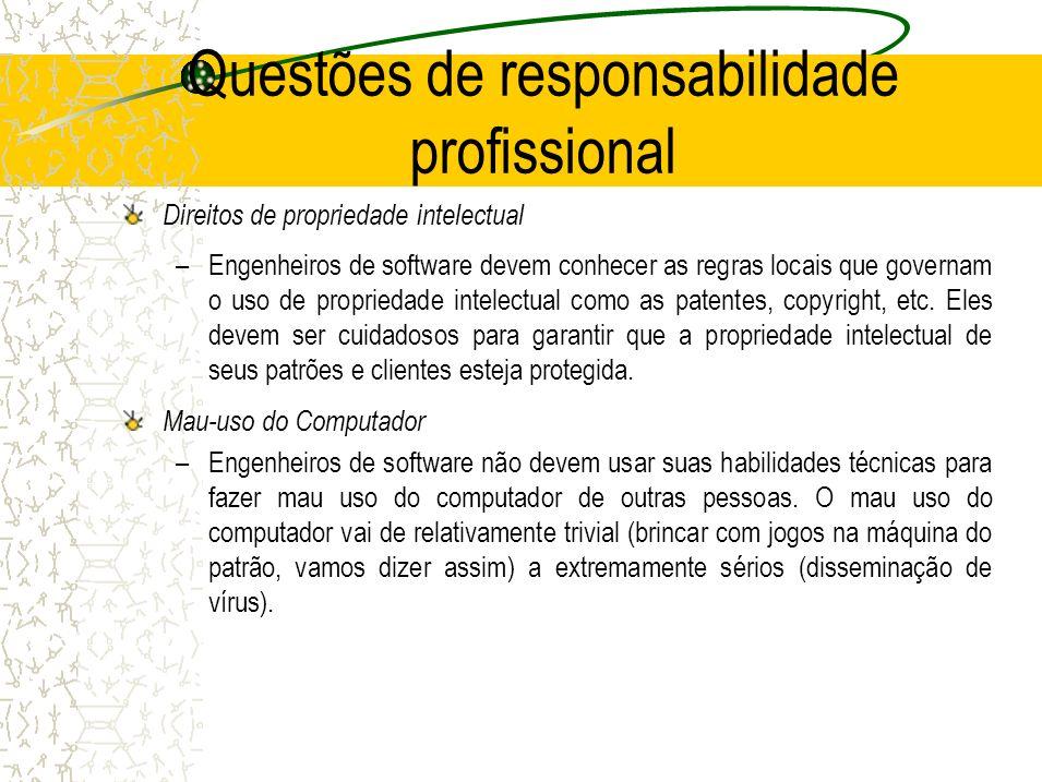 Questões de responsabilidade profissional