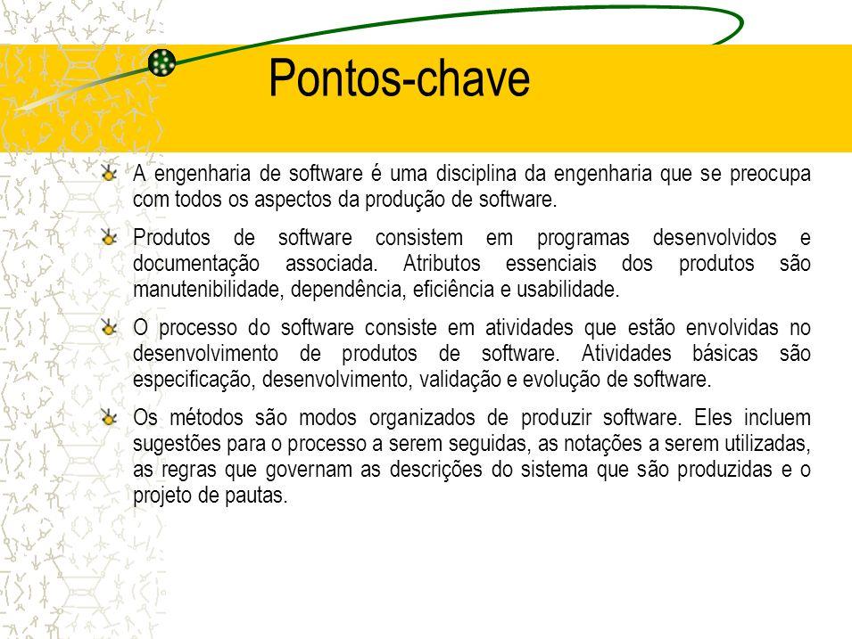 Pontos-chave A engenharia de software é uma disciplina da engenharia que se preocupa com todos os aspectos da produção de software.