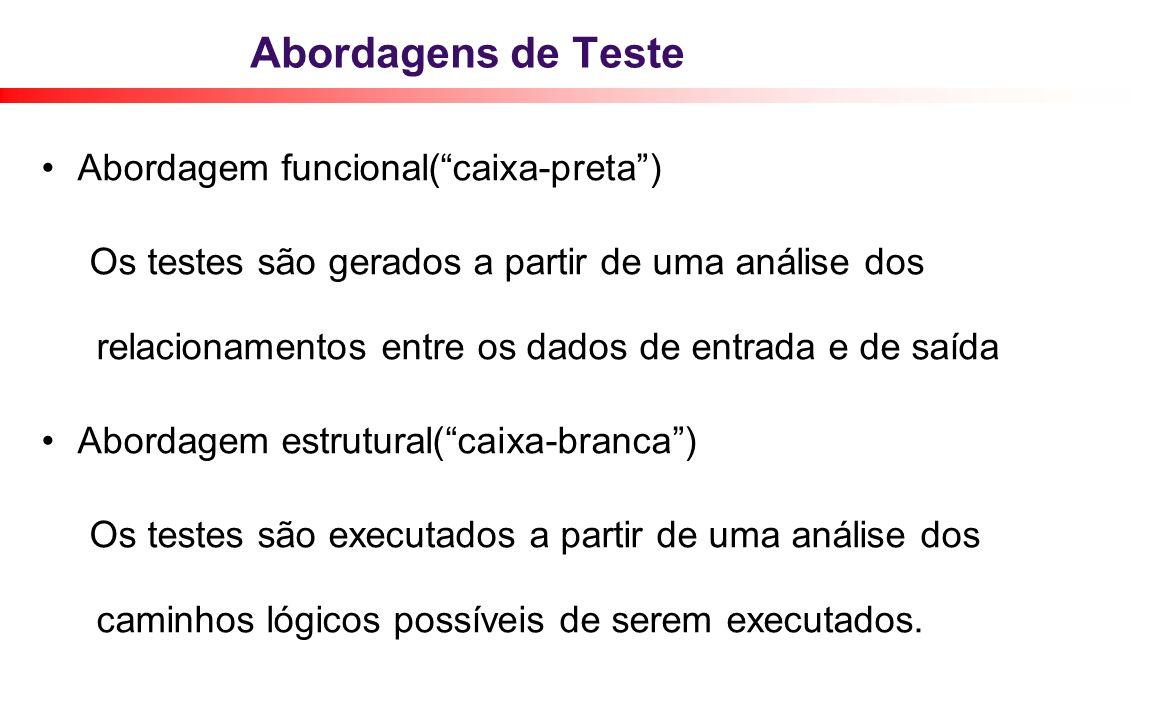 Abordagens de Teste Abordagem funcional( caixa-preta )