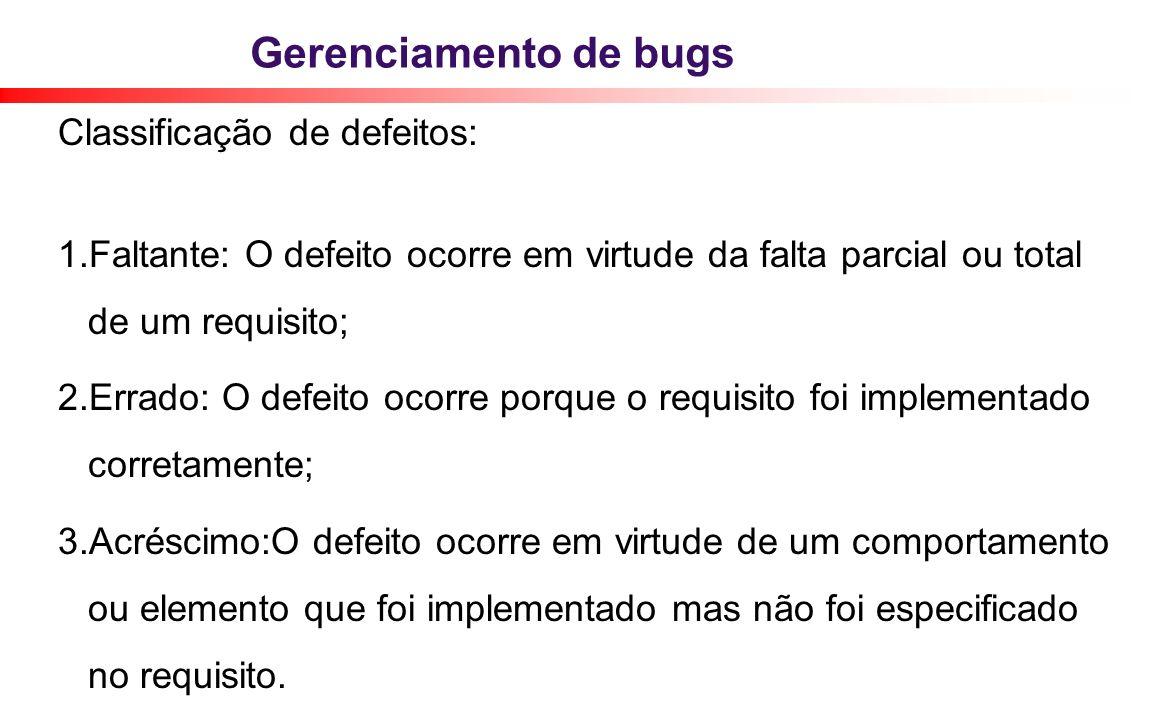Gerenciamento de bugs Classificação de defeitos: