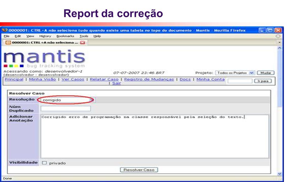 Report da correção