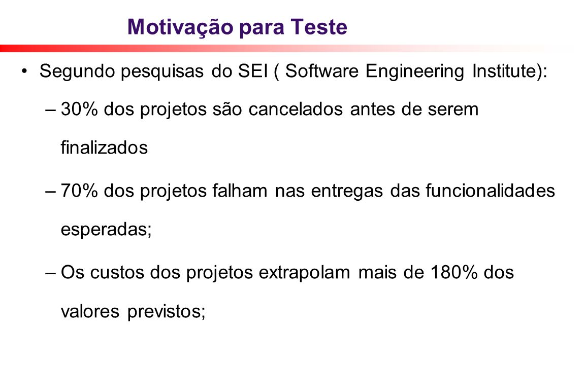 Motivação para TesteSegundo pesquisas do SEI ( Software Engineering Institute): 30% dos projetos são cancelados antes de serem finalizados.