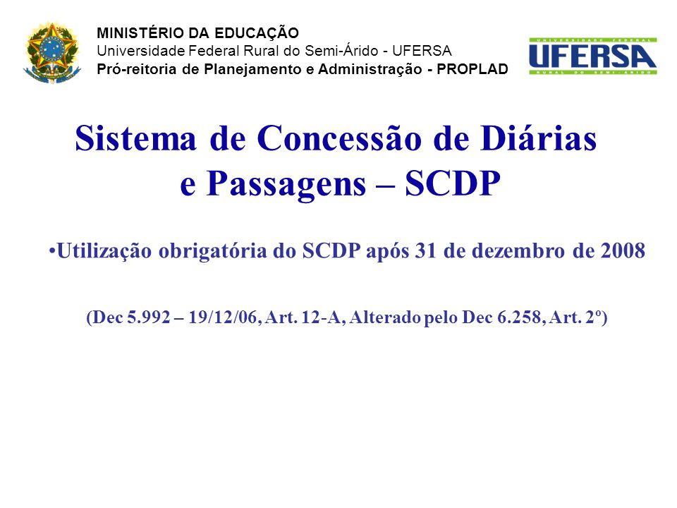 Sistema de Concessão de Diárias e Passagens – SCDP