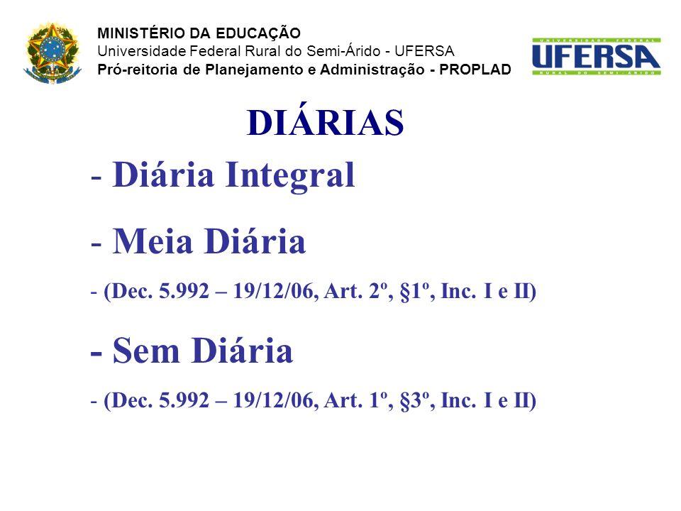 DIÁRIAS Diária Integral Meia Diária - Sem Diária