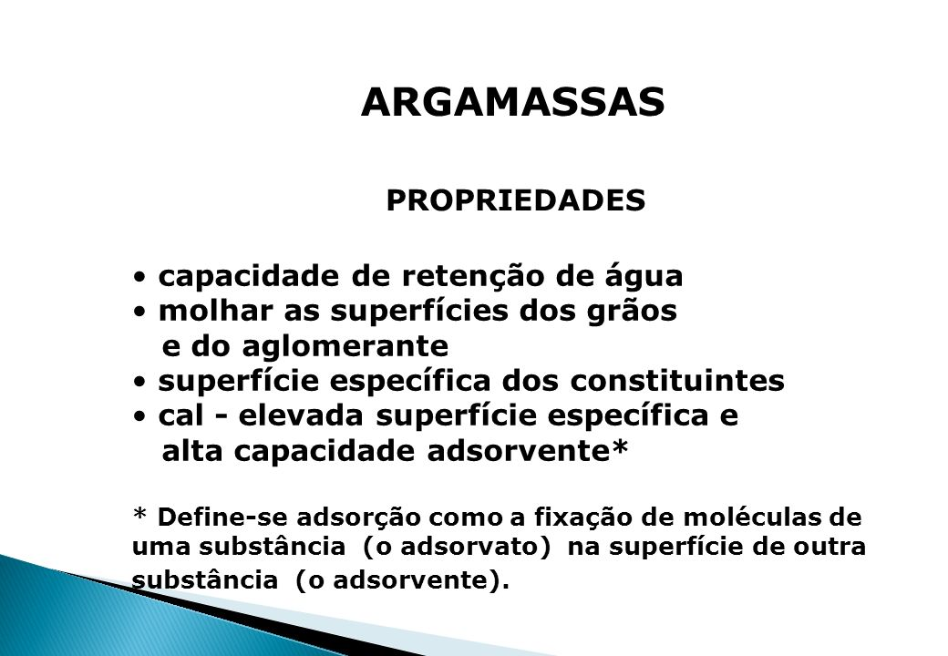 ARGAMASSAS PROPRIEDADES capacidade de retenção de água
