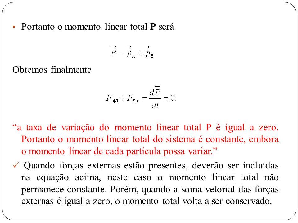 Portanto o momento linear total P será