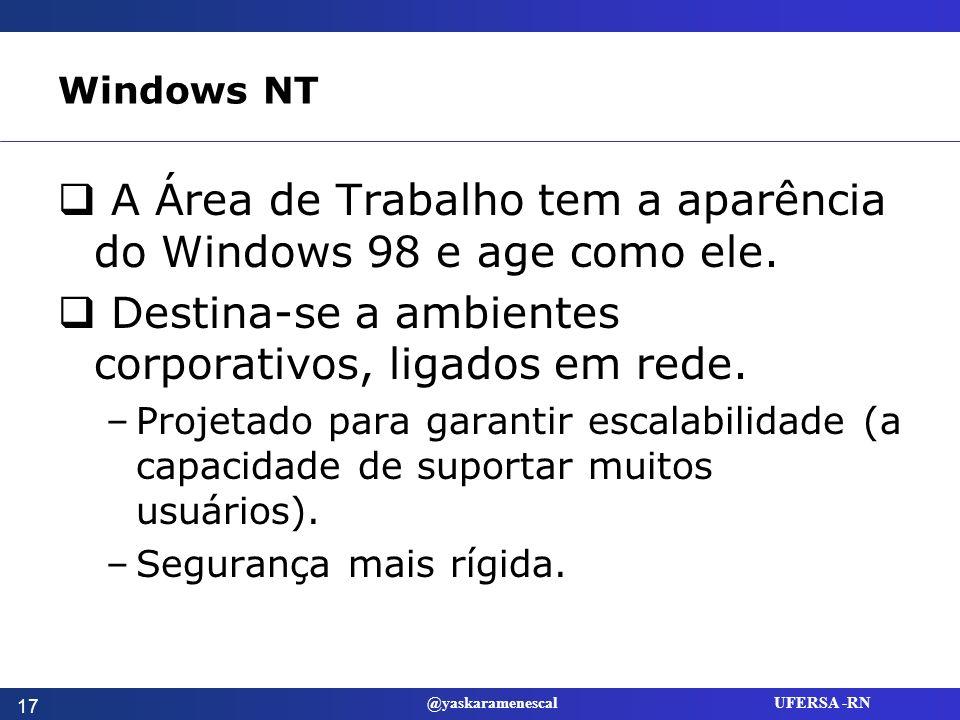 A Área de Trabalho tem a aparência do Windows 98 e age como ele.