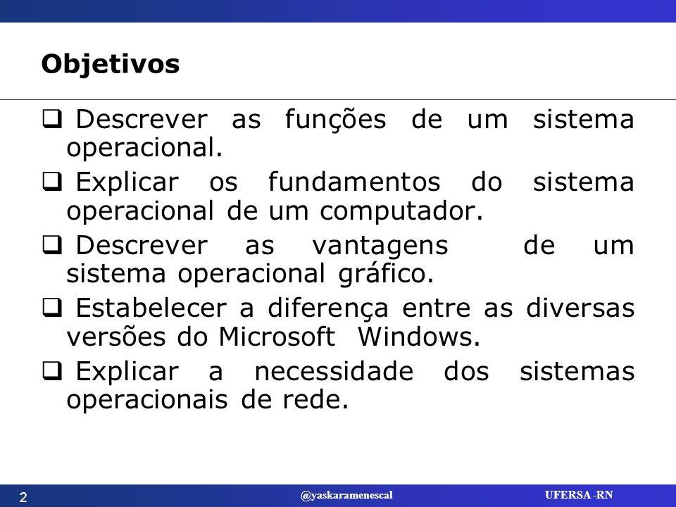 Objetivos Descrever as funções de um sistema operacional. Explicar os fundamentos do sistema operacional de um computador.