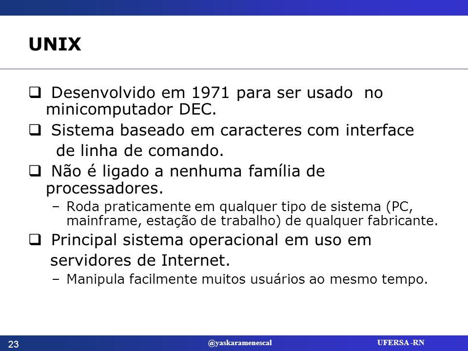 UNIX Desenvolvido em 1971 para ser usado no minicomputador DEC.