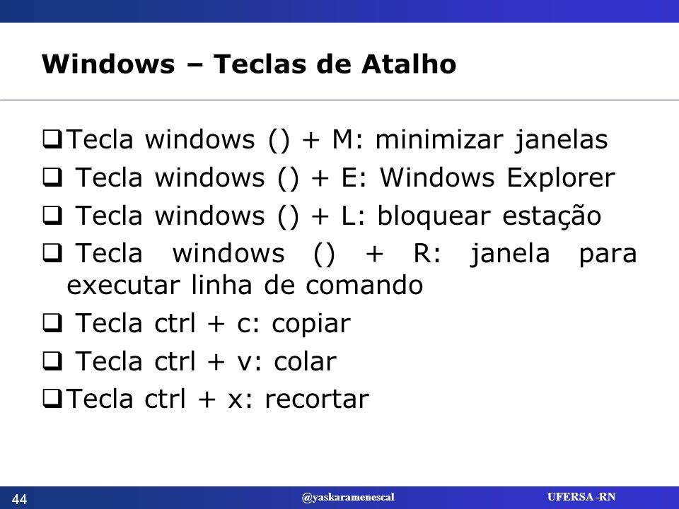 Windows – Teclas de Atalho
