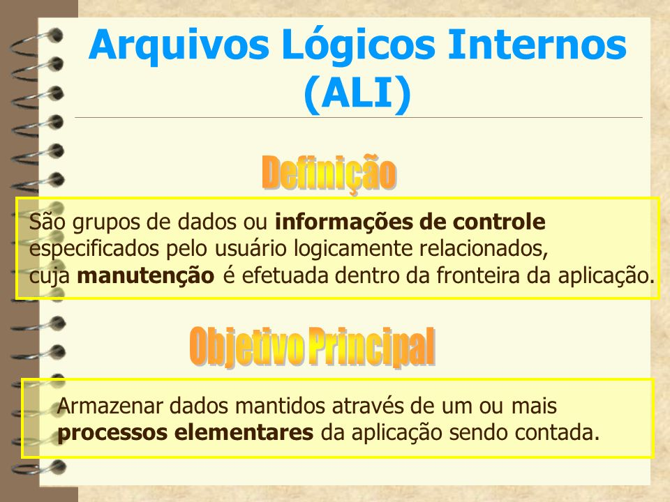 Arquivos Lógicos Internos (ALI)