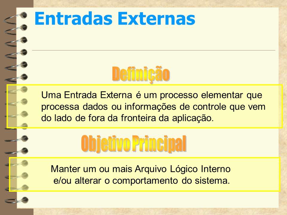 Entradas Externas Uma Entrada Externa é um processo elementar que