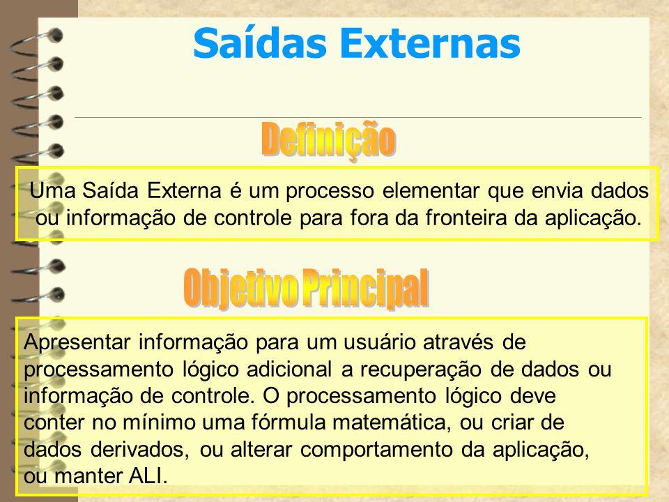 Saídas ExternasDefinição. Uma Saída Externa é um processo elementar que envia dados. ou informação de controle para fora da fronteira da aplicação.