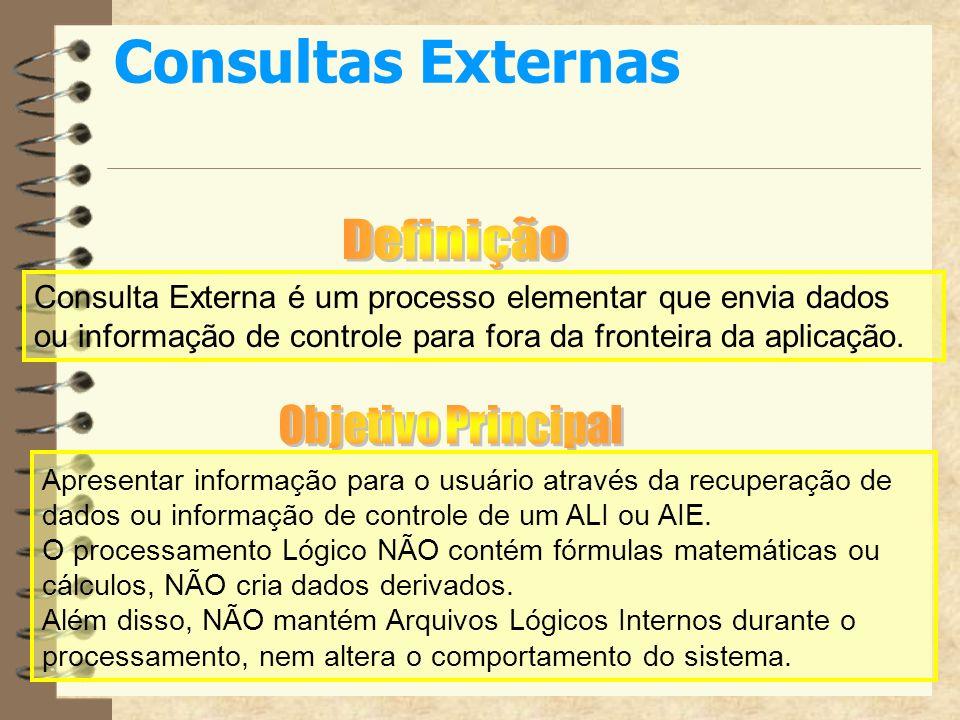 Consultas ExternasDefinição. Consulta Externa é um processo elementar que envia dados ou informação de controle para fora da fronteira da aplicação.