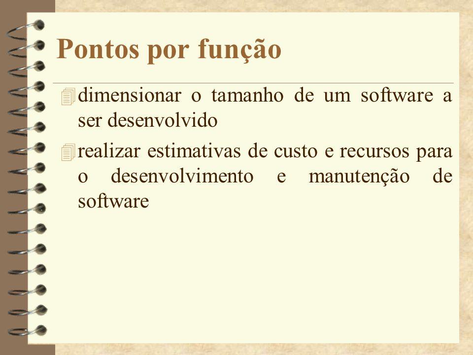 Pontos por função dimensionar o tamanho de um software a ser desenvolvido.