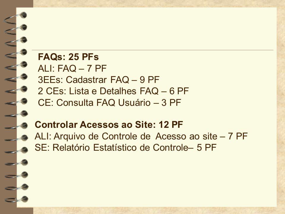 FAQs: 25 PFs ALI: FAQ – 7 PF. 3EEs: Cadastrar FAQ – 9 PF. 2 CEs: Lista e Detalhes FAQ – 6 PF. CE: Consulta FAQ Usuário – 3 PF.