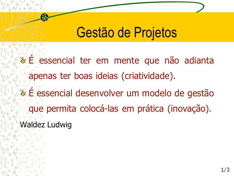 Gestão de Projetos É essencial ter em mente que não adianta apenas ter boas ideias (criatividade).