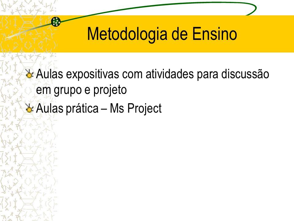Metodologia de Ensino Aulas expositivas com atividades para discussão em grupo e projeto.