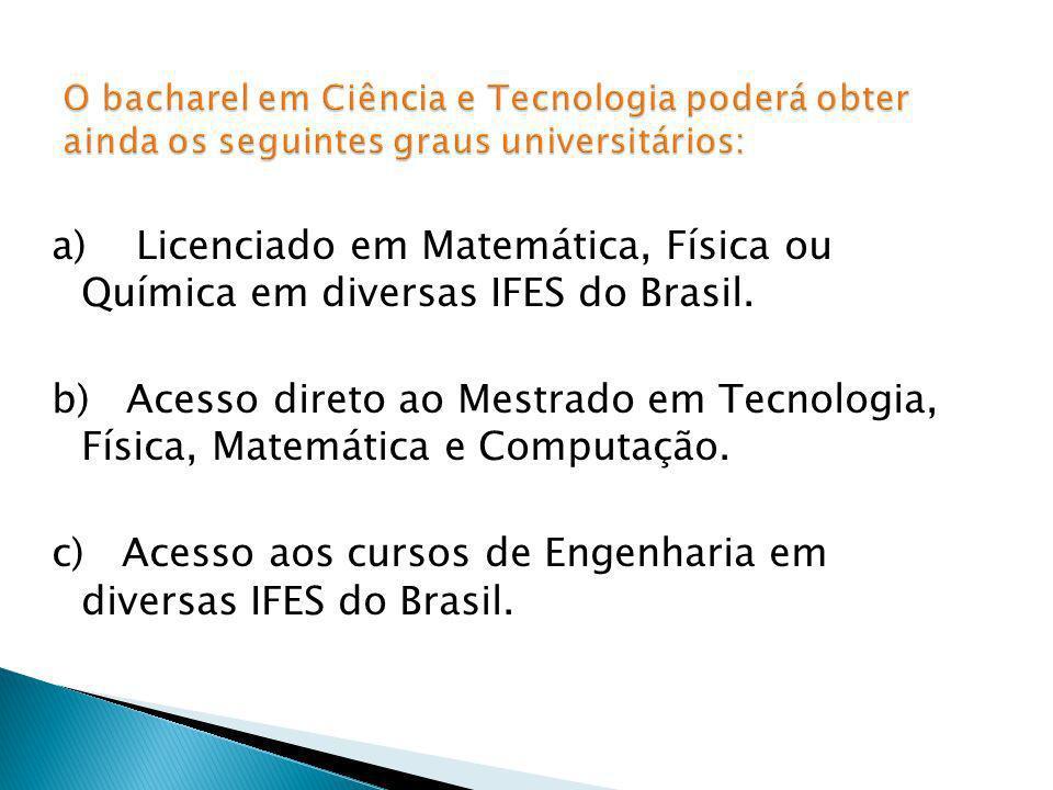 O bacharel em Ciência e Tecnologia poderá obter ainda os seguintes graus universitários:
