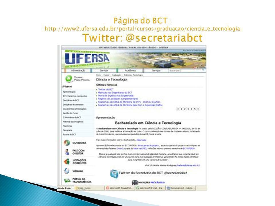 Página do BCT : http://www2. ufersa. edu