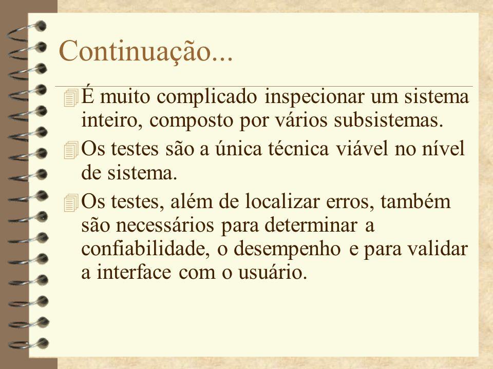 Continuação... É muito complicado inspecionar um sistema inteiro, composto por vários subsistemas.