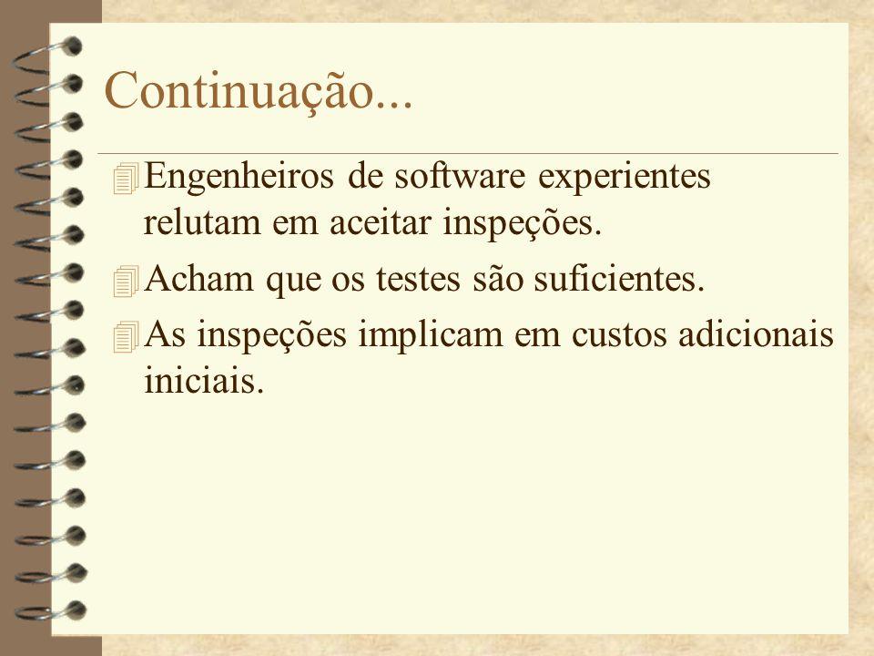 Continuação... Engenheiros de software experientes relutam em aceitar inspeções. Acham que os testes são suficientes.