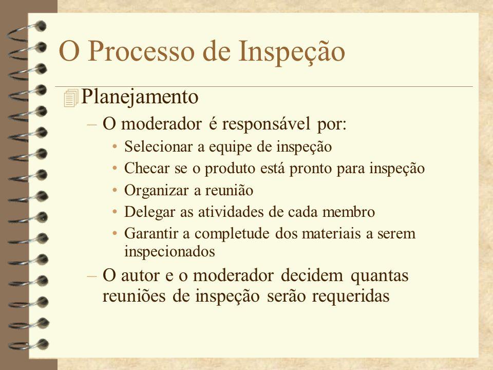 O Processo de Inspeção Planejamento O moderador é responsável por: