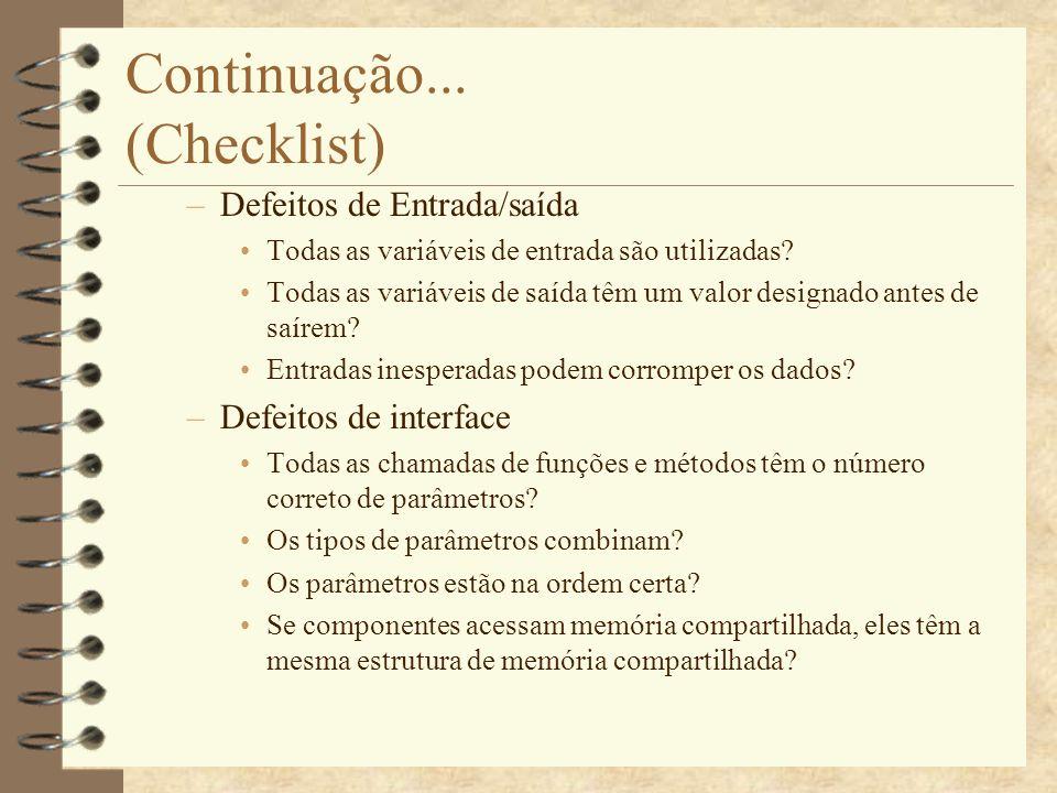 Continuação... (Checklist)