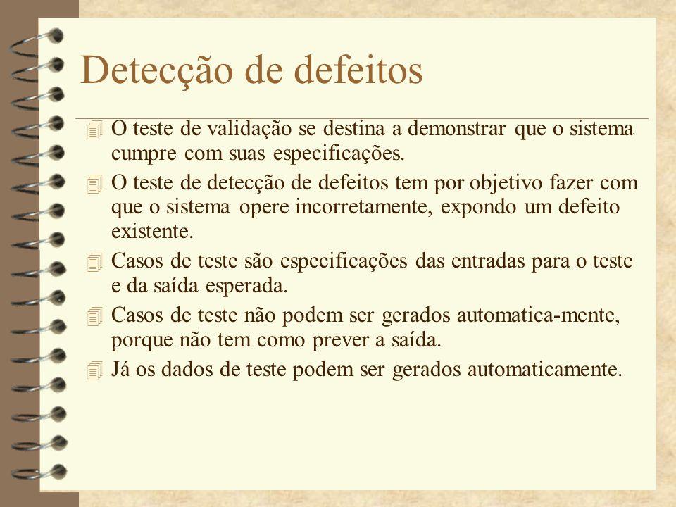Detecção de defeitos O teste de validação se destina a demonstrar que o sistema cumpre com suas especificações.
