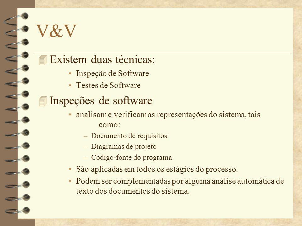 V&V Existem duas técnicas: Inspeções de software Inspeção de Software