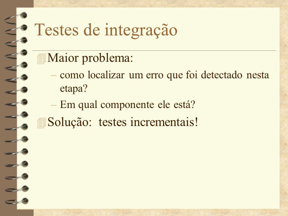 Testes de integração Maior problema: Solução: testes incrementais!