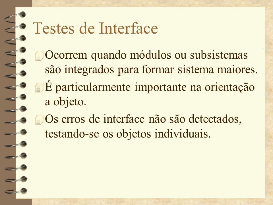 Testes de Interface Ocorrem quando módulos ou subsistemas são integrados para formar sistema maiores.