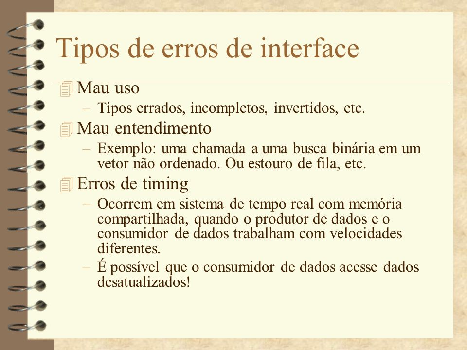Tipos de erros de interface