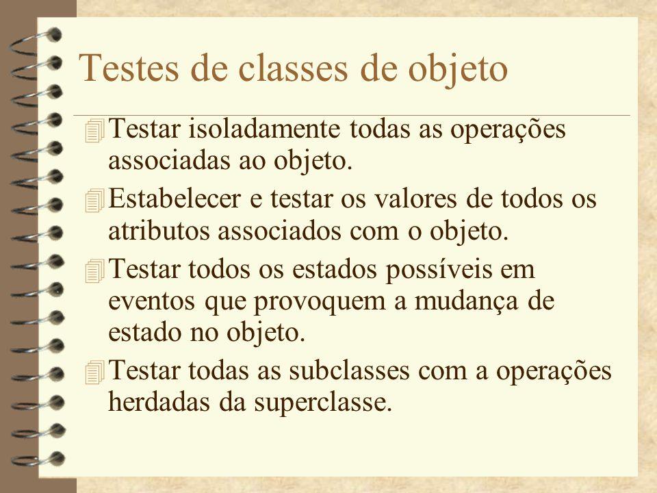 Testes de classes de objeto